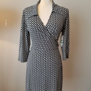 New Geometric Print Wrap Dress- Laundry